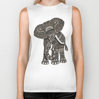 ornate Biker Tanks featuring Ornate Elephant by ArtLovePassion