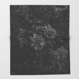 Floral (Black and White) Throw Blanket