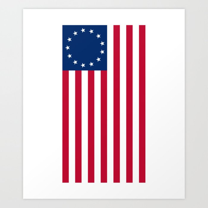 image relating to Betsy Ross Printable Pictures named Vertical Betsy Ross Flag print Artwork Print via noveltymerch