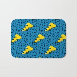 90's Retro Blue and Yellow Lightning Bolt Pattern Bath Mat