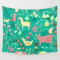 farm Wall Tapestries featuring farm life by misslin
