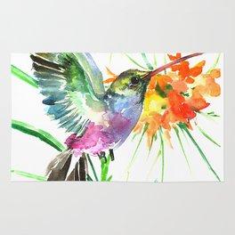 Hummignbird and Flowers Rug