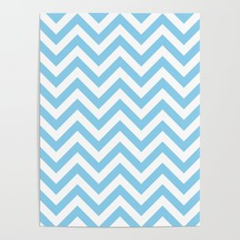 Baby Blue Chevrons Patterns Poster