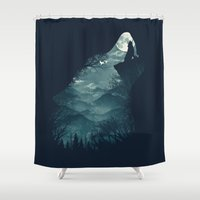 wolf Shower Curtains featuring Hungry Wolf by dan elijah g. fajardo