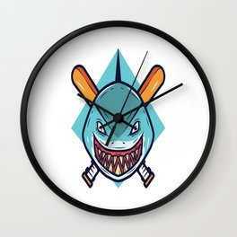 Baseball Mascot shark Vector Wall Clock