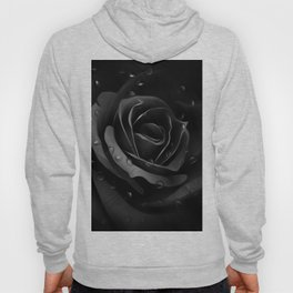 Black Rose with dew drops - Black beauty Hoody