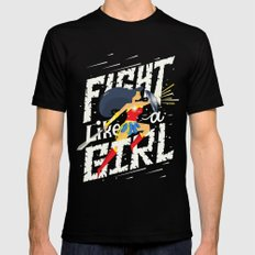 Fight like a girl LARGE Black Mens Fitted Tee