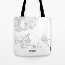 Lisbon, Portugal Minimalist Map Tote Bag