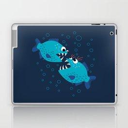 Gossiping Blue Piranha Fish Laptop & iPad Skin