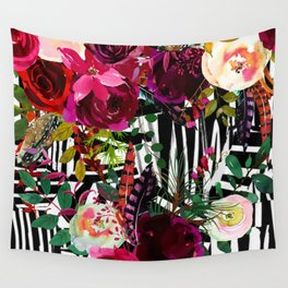 Floral On Zebra Pattern Wall Tapestry