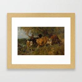 BRAITH, ANTON 1836 Biberach 1905 Young herdsman with cows. 1876. Framed Art Print