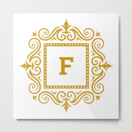 Decorative Monogram F Gold Metal Print