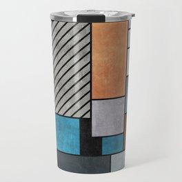 Random Concrete Pattern - Blue, Grey, Brown Travel Mug