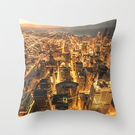 chicago aerial view Throw Pillow