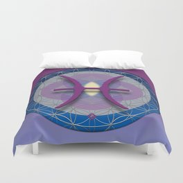 Flower of Life PISCES Astrology Design Duvet Cover