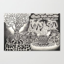 BioTechnological DNA Tree and Abstract Cityscape Canvas Print
