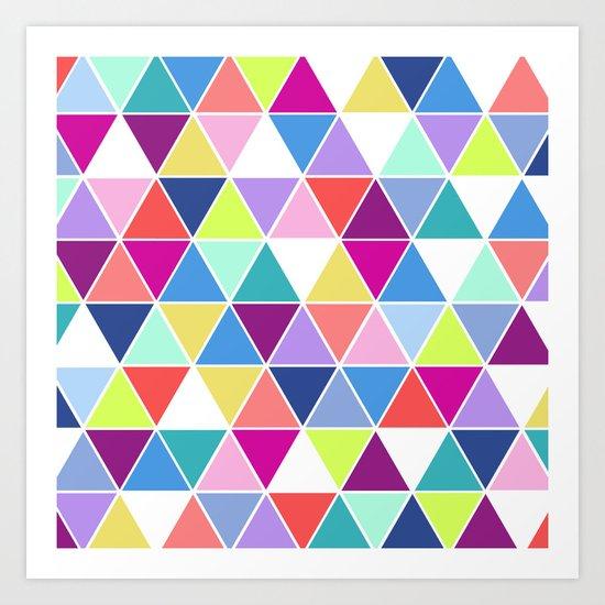 Multi Colour Triangle; Art Print
