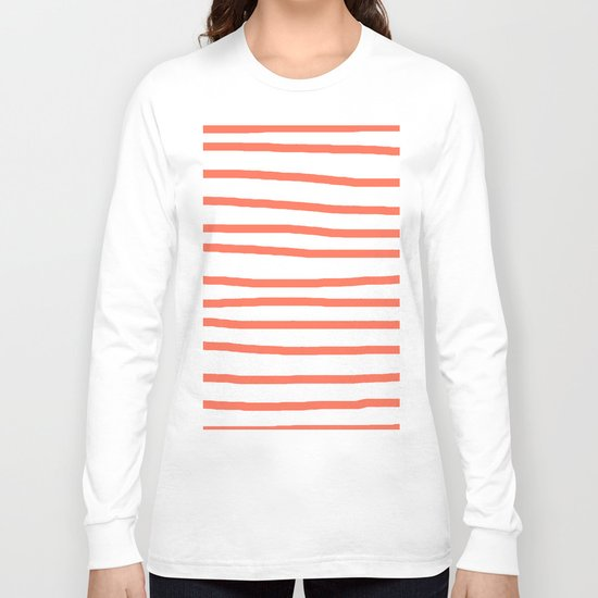 Simply Drawn Stripes in Deep Coral Long Sleeve T-shirt
