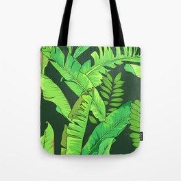 Green Jungle Tropical Leaves Pattern Tote Bag