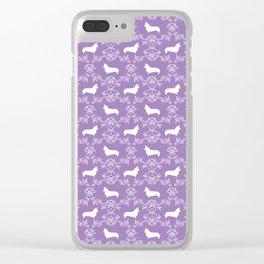 Corgi silhouette florals dog pattern purple and white minimal corgis welsh corgi pattern Clear iPhone Case