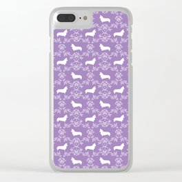 Corgi silhouette florals dog pattern purple and white minimal corgis welsh corgi pattern Clear iPhone Case