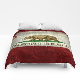 Californian flag the Bear flag in retro grunge Comforters