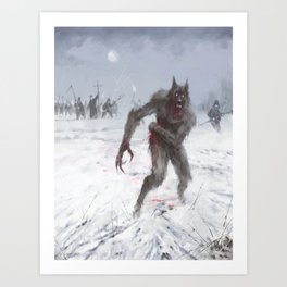 Wounded Wolf Art Print