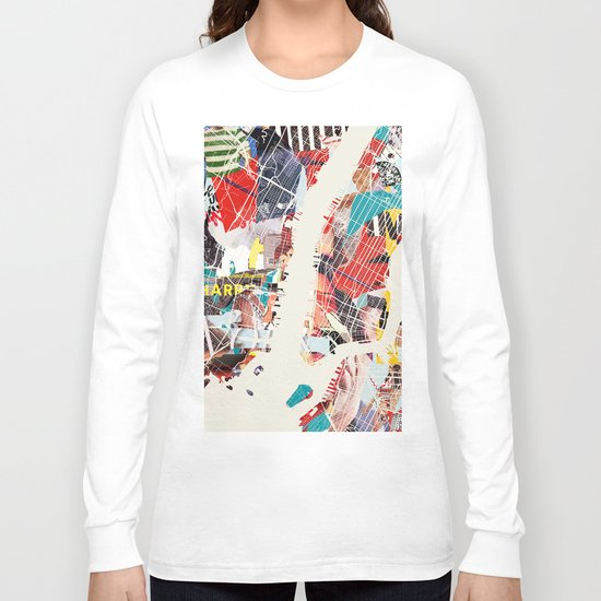 New York Map collage magazine Long Sleeve T-shirt