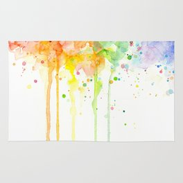 Watercolor Rainbow Splatters Abstract Texture Rug