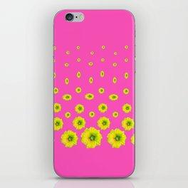 MODERN PINK & YELLOW FLOWERS  DESIGN ART iPhone Skin