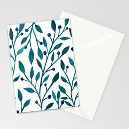 leafs and fruit - blue color pallete Stationery Cards