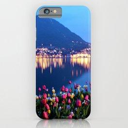 Tulips - Lake Lugano, Switzerland Landscape Photograph iPhone Case