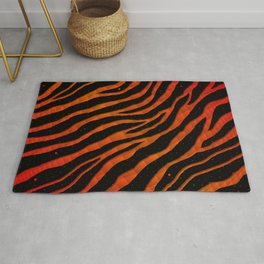 Ripped SpaceTime Stripes - Red/Orange Rug