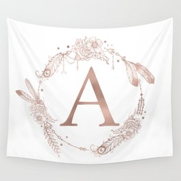 Letter A Rose Gold Pink Initial Monogram Wall Tapestry