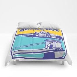 Budapest vintage poster, Chain Bridge Comforters