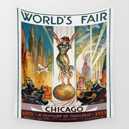 Vintage World's Fair Chicago IL 1933 Wall Tapestry