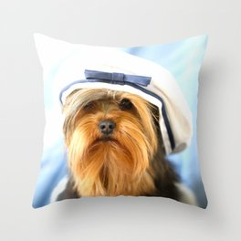 Little Sailor Yorkshireterrier With Sailor Hat #decor #society6 Throw Pillow