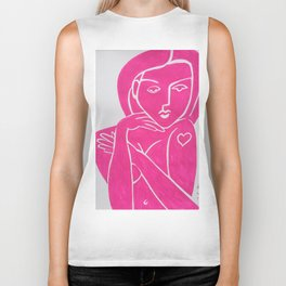 Pretty in Pink Woman - POP ART PAINTING ABSTRACT Biker Tank