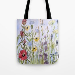 Wildflower Garden Watercolor Flower Illustration Tote Bag