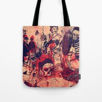 doom Tote Bags featuring Boom Doom Ka Doom by zansky