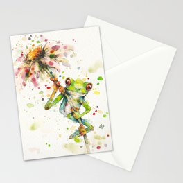 Hello There Bright Eyes (Green Tree Frog) Stationery Cards