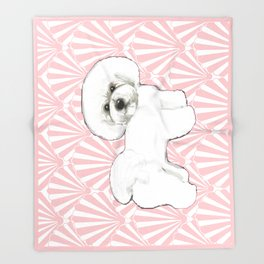 Bichon Frise at the beach / seashell pink Throw Blanket