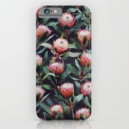 Evening Proteas - Pink on Charcoal iPhone Case