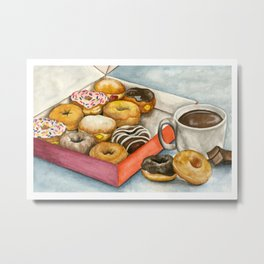 Donuts & Hot Chocolate Metal Print
