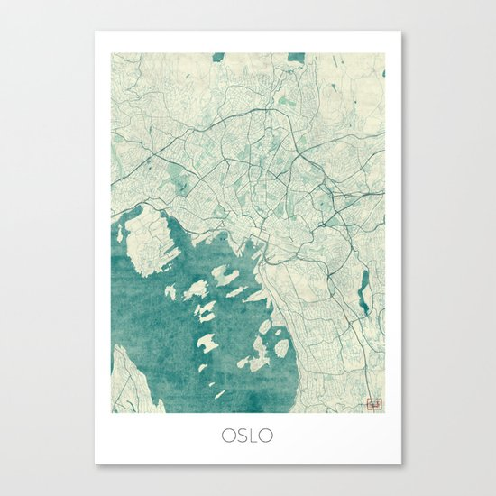 Oslo Map Blue Vintage Canvas Print