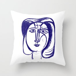Picasso Woman's head #3 Blue Throw Pillow