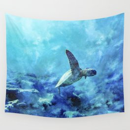 Sea Turtle Into The Deep Blue Wall Tapestry