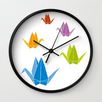 origami Wall Clocks featuring ORIGAMI by taichi_k