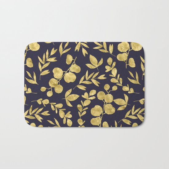 Golden Meadow Gold Leaves on Navy Bath Mat