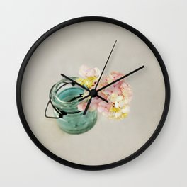 Pink and Yellow Hydrangeas on Taupe Wall Clock